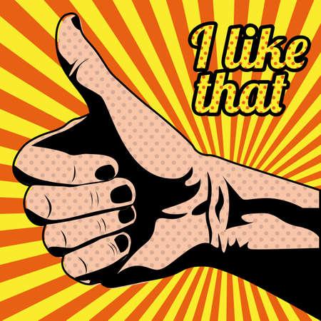 like icon: i like that over grunge background Illustration