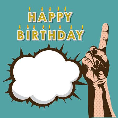 happy birthday design over blue background Vector