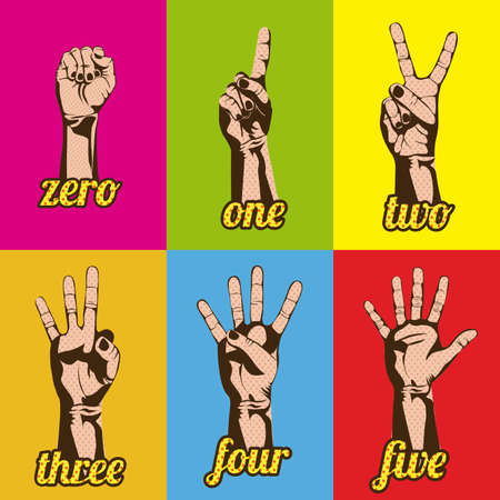 number two: numbers and hands over variety of colors illustration Illustration