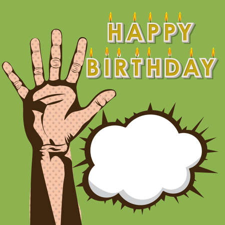 happy birthday design over green  background Vector