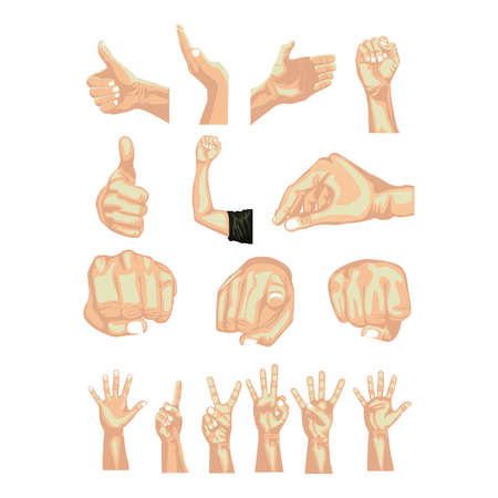 nonverbal: hands symbols over white background