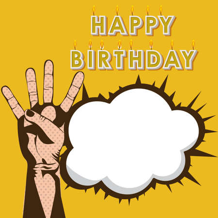 happy birthday design over yellow background Vector
