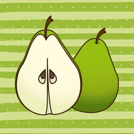 soothing: pear design over green lines background Illustration