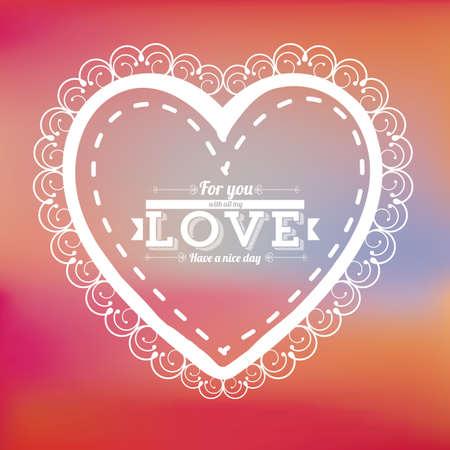 degraded: heart design over degraded color background