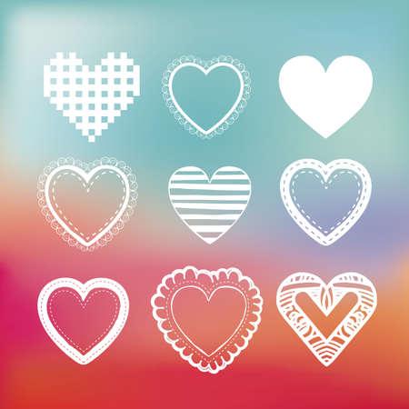 degraded: hearts design over degraded color background
