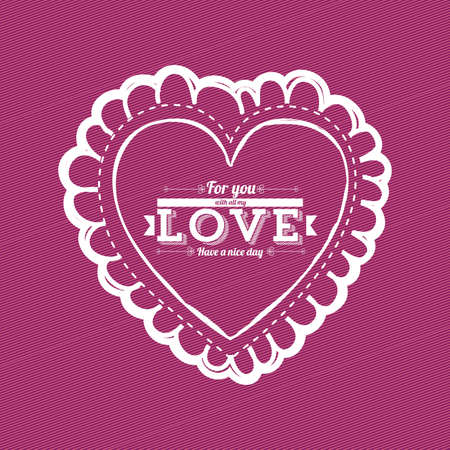 heart design over purple background Vector