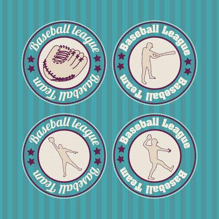 baseball seals over blue background illustration Stock Vector - 20673173
