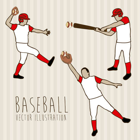 outfielder: baseball players over lineal background illustration