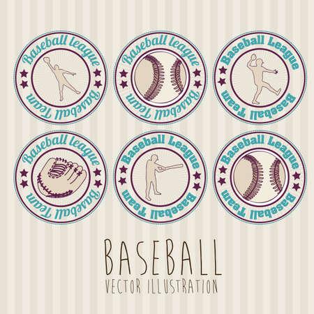 baseball seals over lineal background illustration Stock Vector - 20673157