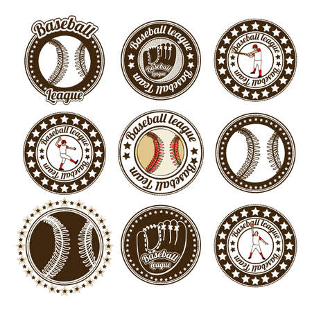 outfielder: baseball seals over white background illustration