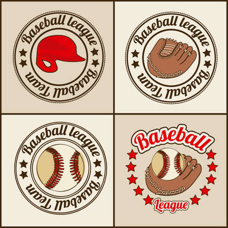 baseball seals over beige background illustration  Stock Vector - 20673822