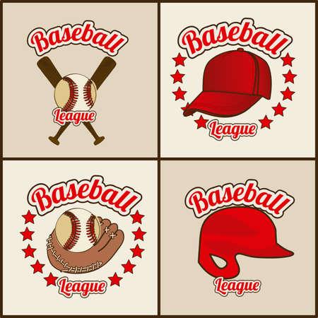 baseball seals over beige background illustration Stock Vector - 20673825