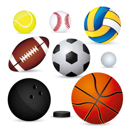 sports balloons over white background illustration  Vector