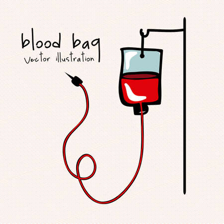 drop of blood: blood bag over pink background illustration