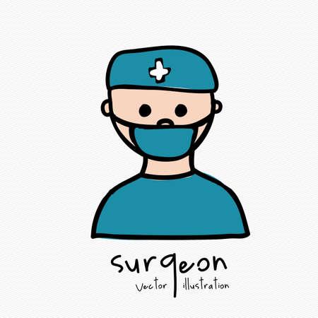 外科医白い背景のイラスト デザイン
