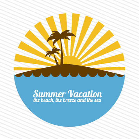 summer vacation over lineal background illustration Vector