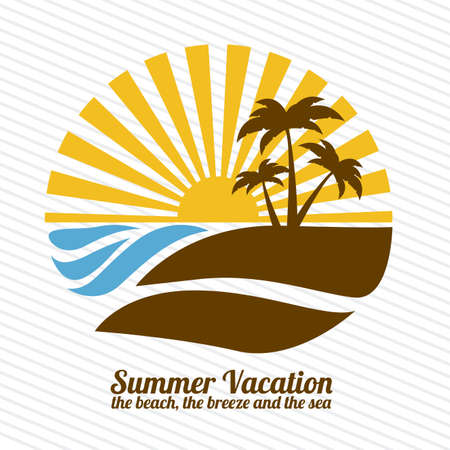 tropical sunset: summer vacation over lineal background illustration