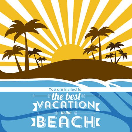 invited: invited vacation in the beach over landscape background illustration