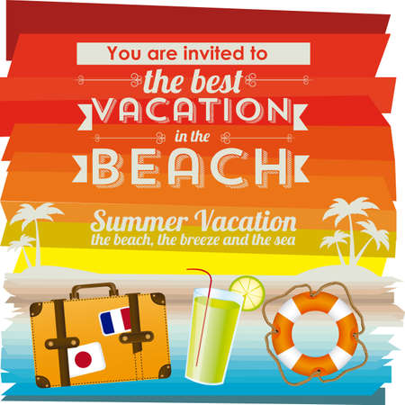 invited: invited vacation in the beach over wooden background illustration