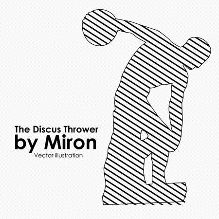 thrower: the discus thrower over white background illustration