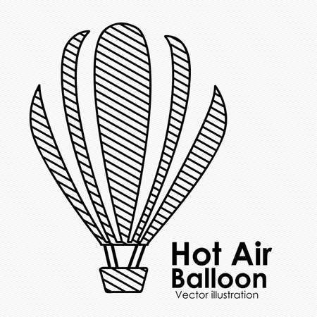hot air balloon over white background illustration  Vector