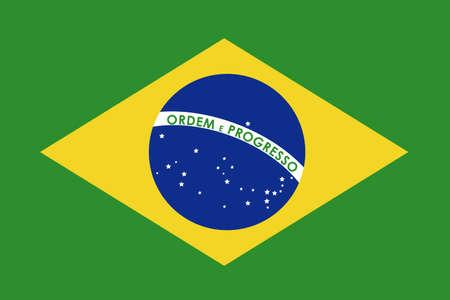 brazil flag over green background illustration Vector