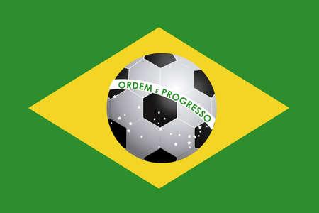 soccer ball over brazil flag background illustration Vector
