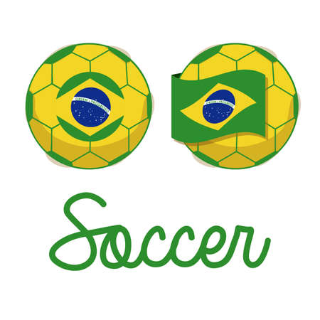 brazilian soccer over white background illustration Vector
