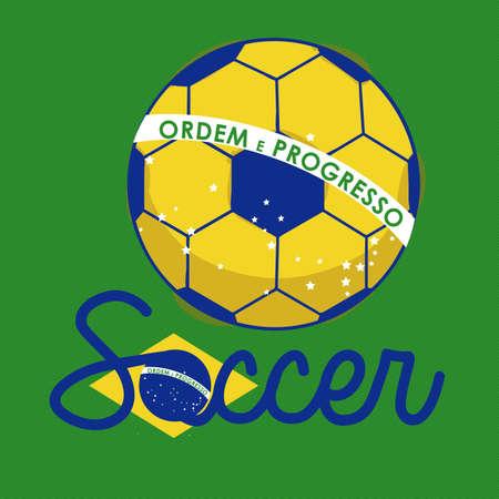 soccer brazilian over green background  illustration   Vector