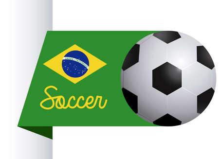 brazil soccer label over white background illustration   Vector