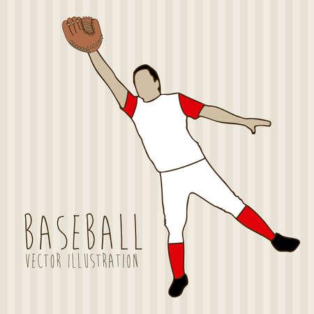 baseball league over lineal background illustration  Vector