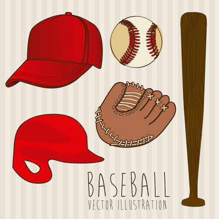 outfielder: baseball icons over lineal background illustration