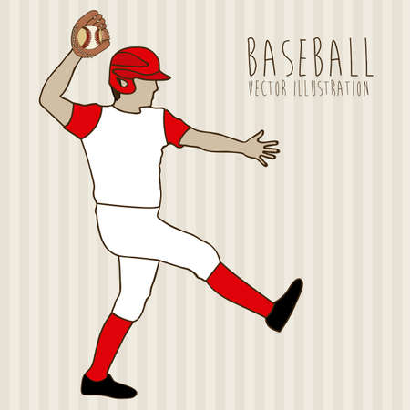 outfielder: baseball league over lineal background illustration