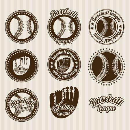 outfielder: baseball seals over lineal background illustration  Illustration
