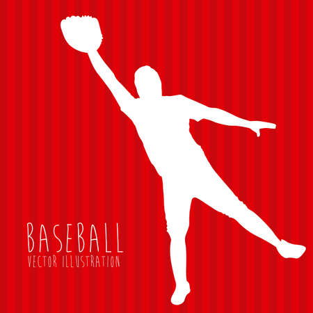 baseball league over red background illustration  Stock Vector - 20672945