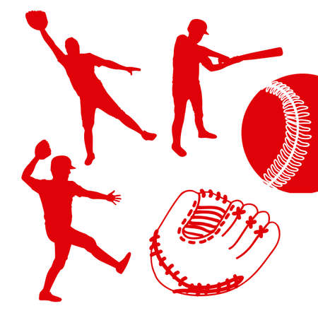 outfielder: baseball players over white background illustration