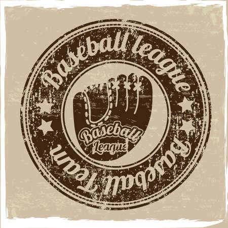 guante de beisbol: sello del béisbol durante la vendimia ilustración de fondo Vectores