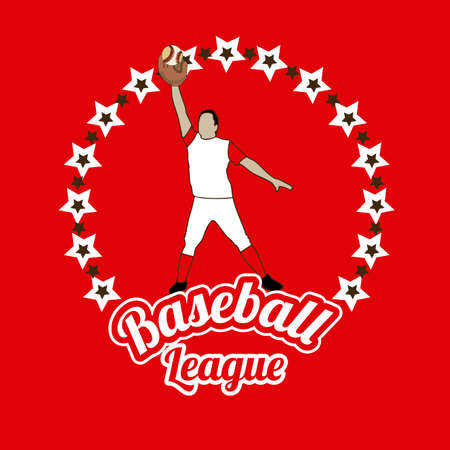 outfielder: baseball league over red background illustration