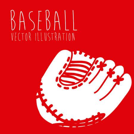 guante de beisbol: sello del béisbol sobre fondo rojo ilustración