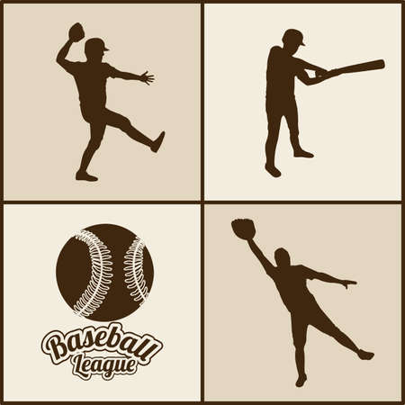 outfielder: baseball silhouettes over beige background vector illustration