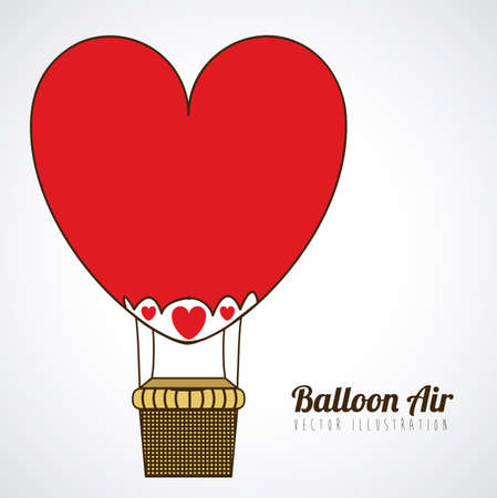 balloon heart design over gray background vector illustration Vector