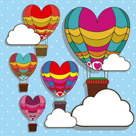 inflar: globos dise�o sobre fondo azul con puntos ilustraci�n vectorial Vectores