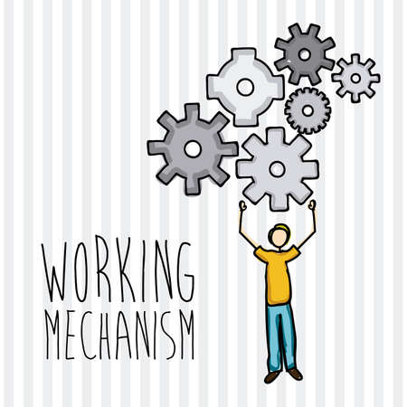 working mechanism over lineal background vector illustration  Vector