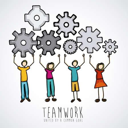 doodle art: teamwork design over gray background vector illustration