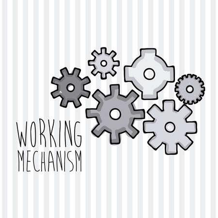 working mechanism over lineal background vector illustration  Stock Vector - 20962212