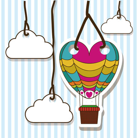hung: balloons design over lineal background vector illustration