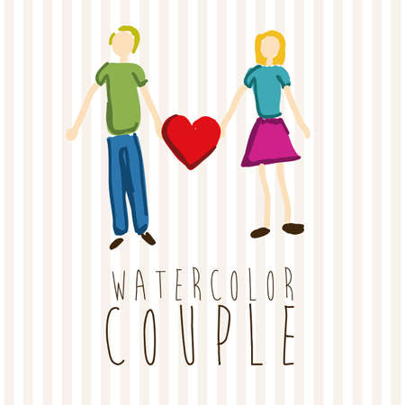 watercolor couple over dotted background vector illustration Vector