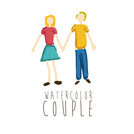 watercolor couple over white background vector illustration Vector