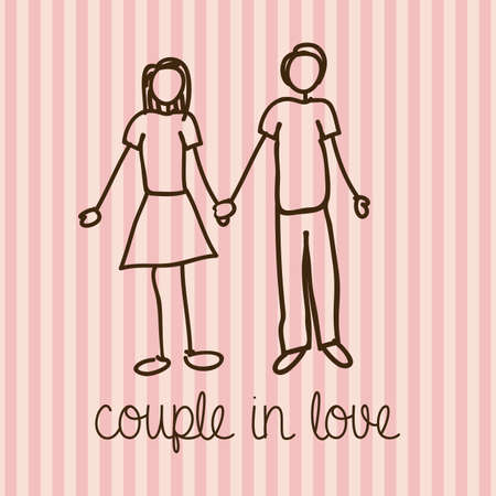 couple in love over lineal background vector illustration  Vector
