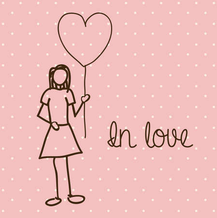 in love over dotted background vector illustration  Vector
